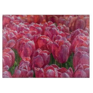 Pink tulips glass cutting board