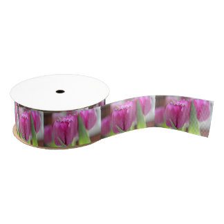 Pink Tulips Grosgrain Ribbon