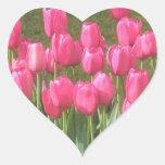 Pink Tulips Heart Shaped Stickers Heart Sticker