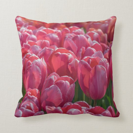 Pink tulips in Holland throw cushion