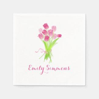Pink Tulips & Name - Cocktail Napkin Disposable Napkin