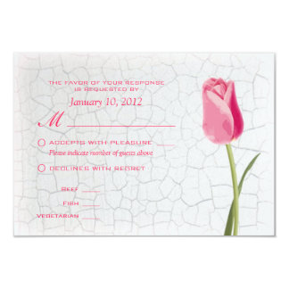 Pink Tulips on Crackle Paint RSVP w/ Meal Options 9 Cm X 13 Cm Invitation Card