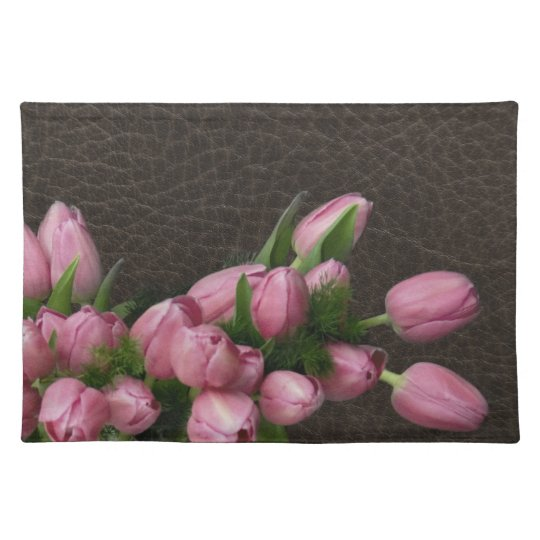 Pink Tulips on Elegant Leather American MoJo Place