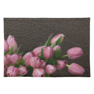 Pink Tulips on Elegant Leather American MoJo Place Placemats