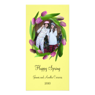 Pink Tulips on Yellow Photo Card