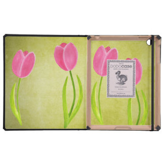 Pink Tulips Painting Art IPAD 2 3 Dodo Book Case iPad Covers