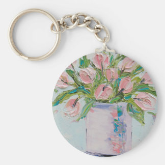 Pink Tulips Painting, Tulip Art, Textured Flowers Key Ring