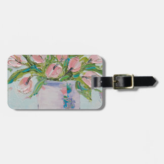 Pink Tulips Painting, Tulip Art, Textured Flowers Luggage Tag