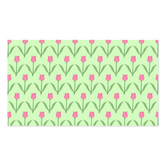 Pink Tulips Pattern on Green. Pretty Floral Design Business Card Template