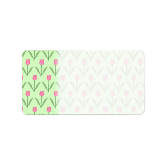 Pink Tulips Pattern on Green. Pretty Floral Design Label