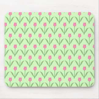 Pink Tulips Pattern on Green Pretty Floral Design Mousepad