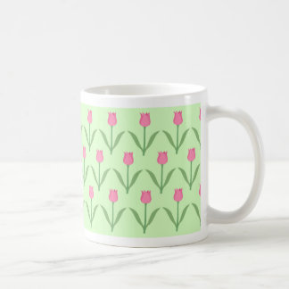 Pink Tulips Pattern on Green. Pretty Floral Design Mugs