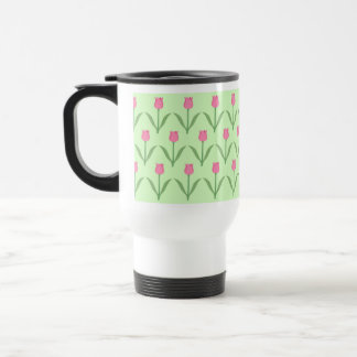 Pink Tulips Pattern on Green. Pretty Floral Design Coffee Mug