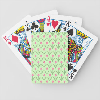Pink Tulips Pattern on Green Pretty Floral Design Bicycle Poker Cards