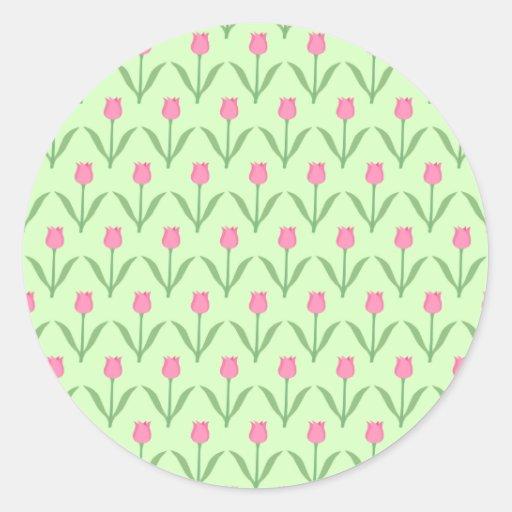 Pink Tulips Pattern on Green. Pretty Floral Design Sticker