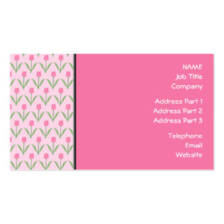 Pink Tulips Pattern. Pretty Floral Design. Business Card Templates