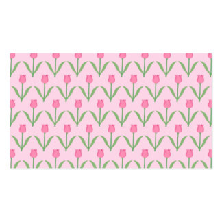 Pink Tulips Pattern. Pretty Floral Design. Business Card Template