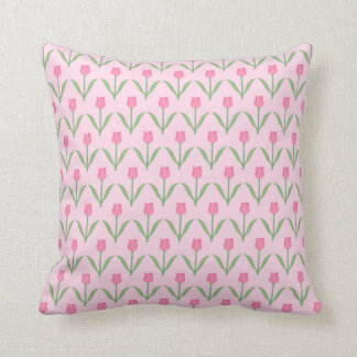 Pink Tulips Pattern Pretty Floral Design Throw Pillow