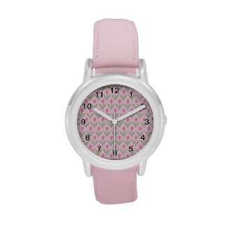 Pink Tulips Pattern. Pretty Floral Design. Watch