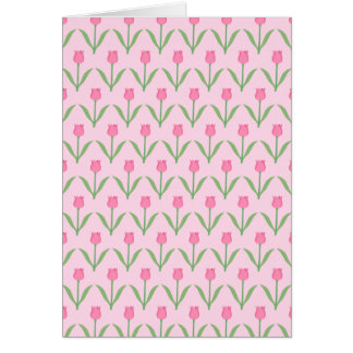Pink Tulips Pattern. Pretty Floral Design. Greeting Card