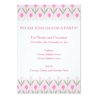 "Pink Tulips Pattern. Pretty Floral Design. 5"" X 7"" Invitation Card"