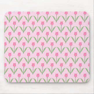 Pink Tulips Pattern Pretty Floral Design Mousepad