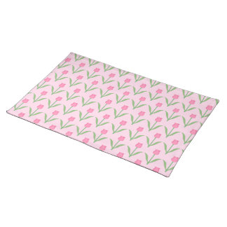 Pink Tulips Pattern. Pretty Floral Design. Placemats