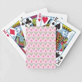 Pink Tulips Pattern Pretty Floral Design Bicycle Card Deck