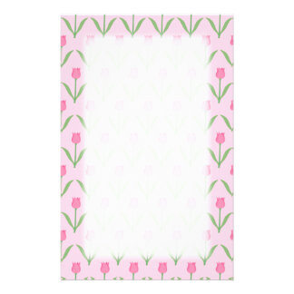 Pink Tulips Pattern. Pretty Floral Design. Stationery