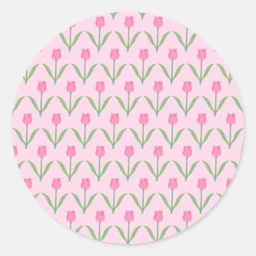 Pink Tulips Pattern. Pretty Floral Design. Round Stickers