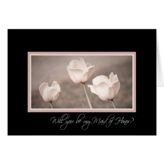 Pink Tulips Photo Maid of Honor Invitation Card