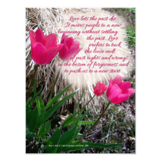 Pink Tulips Photo Print with Quote