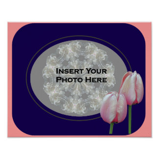 Pink Tulips Photo Template Poster