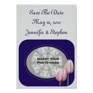 Pink Tulips Photo Wedding Save The Date 13 Cm X 18 Cm Invitation Card