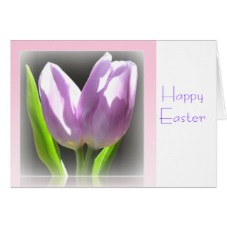 Pink Tulips Reflection Frame Easter Card