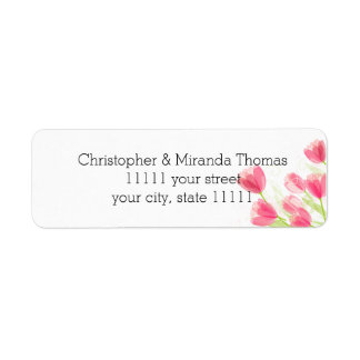 Pink Tulips Return Address Label