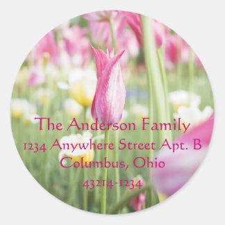 Pink Tulips Spring Easter Return Address Labels Round Sticker