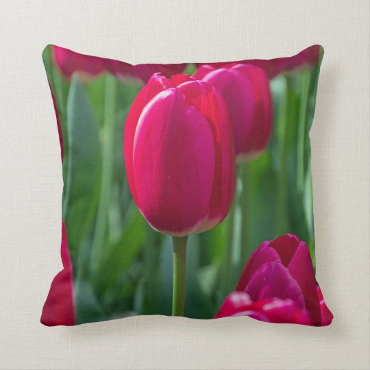 Pink tulips up close throw cushion