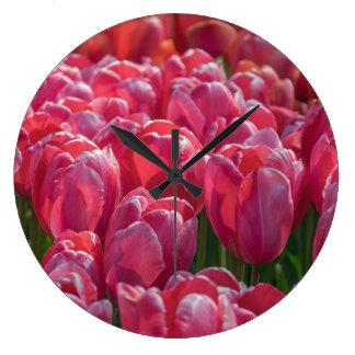 Pink tulips wall clock