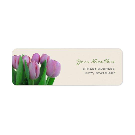 Pink Tulips Wedding Address Labels