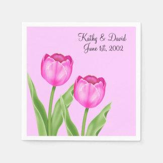 Pink Tulips (Wedding) Disposable Serviette