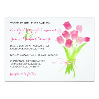 Pink Tulips - Wedding Invitation