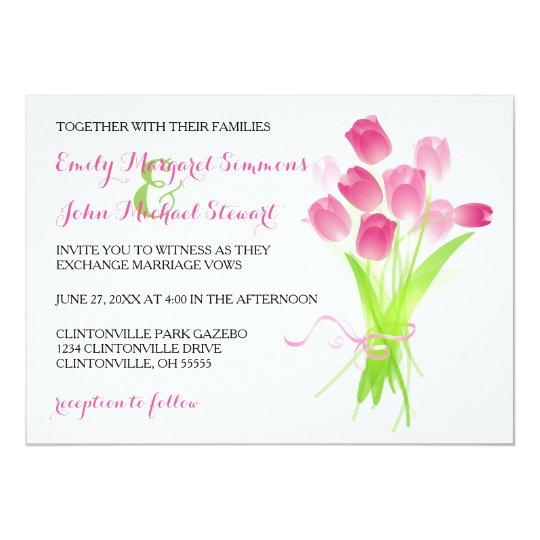 Pink Tulips - Wedding Invitation