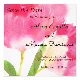 Pink Tulips Wedding Save The Date Card