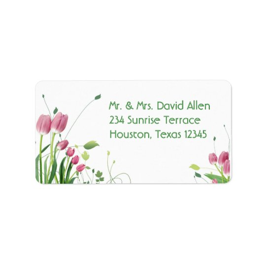 Pink Tulips White Address Labels