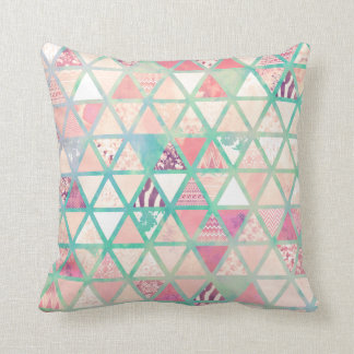 Pink Turquoise Abstract Floral Triangles Patchwork Cushion