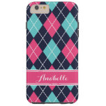 Pink Turquoise and Navy Preppy Argyle Monogram