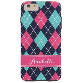 Pink Turquoise and Navy Preppy Argyle Monogram Tough iPhone 6 Plus Case