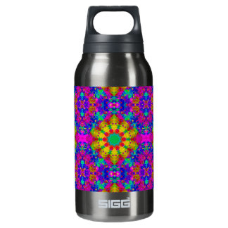Pink Turquoise and Yellow Retro Pattern Insulated Water Bottle