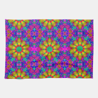 Pink Turquoise and Yellow Retro Pattern Tea Towel
